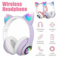 Kids Girls Wired Wireless Headphones Cat Rabbit Ear Headsets LED w/Mic Earphone