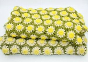 """Lot of 2 Vintage Daisy Crocheted Afghan Blanket Throw 3D Flowers 48x55"""", 38x38"""""""