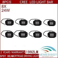 8X 24W CREE Spot LED Work Light Bar 4WD Offroad Driving Fog ATV SUV 4X4 Jeep 12V