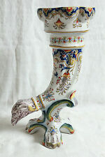 DIVINE FRENCH FAIENCE POTTERY FLORAL DECOR SOLIFLORE VASE HANDPAINTED MAJOLICA