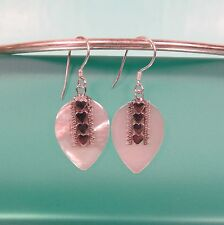 "1"" SweetHeart Mother of Pearl Shell  Bali Sterling Silver Handmade Drop Earring"