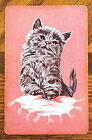 CAT -TABBY KITTEN - ON CUSHION - PINK - SINGLE VINTAGE SWAP PLAYING CARD