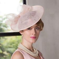 Women's Kentucky Derby Church Wedding Noble Dress linen feather Sinamay hat