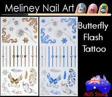 Art Fashion Jewellery bracelet ring Butterfly Flash Tattoos Gold Metallic Body