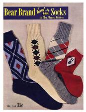 Bear Brand #340 c.1950 Hand Knitting Patterns for Men, Women & Children Socks