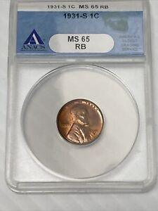 1931-S Lincoln Small Cent ANACS MS65 Red Brown