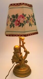 """Vintage Table Lamp Gold Metal Girl in a Tree Kids Room 15"""" Tall"""