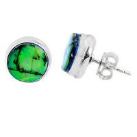925 Sterling Silver 5.90cts Multi Color Sterling Opal Stud Earrings R62864