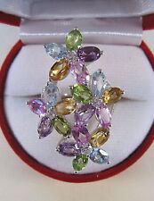 SPINEL CITRINE PERIDOT TOPAZ SAPPHIRE RING 7.79 CTW sz 7.5  GOLD over 925 SILVER
