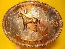 C.W 1981 TRIPLES TROUBLE Sterling Front Champion Stallion Belt Buckle