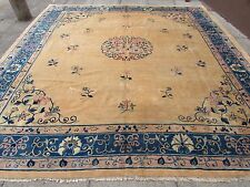 Antique Hand Made Rug Art Deco Chinese Gold Wool Large Carpet 350x330cm