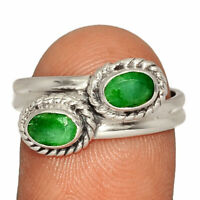 Emerald - India 925 Sterling Silver Ring Jewelry s.9 AR200943