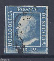 BB.117- Italy stamps, 1859, Sicilia, I tavola, cobalt, retouch