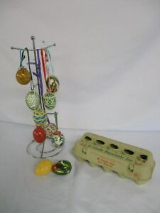10 Easter Hanging Eggs, Plastic & Ceramic, Crochet Covers & Hand Painted