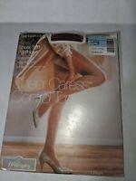 Vintage Pantyhose Sheer Caress Control Top Sz Long Suntan Sandalfoot