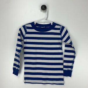 Hanna Andersson Organic Cotton Blue White Striped Long Sleeve Pajama Top Size 5