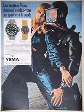 PUBLICITÉ DE PRESSE 1969 MONTRE YEMA SUPERMAN ET BLUE NOTE - HOMME GRENOUILLE