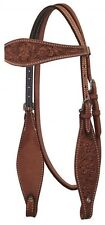 Showman MEDIUM OIL Floral Tooled Argentina Cow Leather Western Headstall!! NEW!!