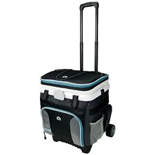 Rolling Cooler On Wheels W Handle Pull 36 Can Insulated Ice Chest BBQ Party NEW