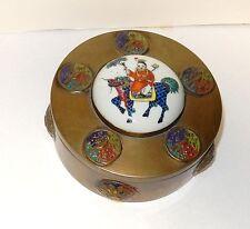 CHINESE MAN ON A HORSE DESIGN REPOUSSE ENAMEL PORCELAIN TOP METAL BOX
