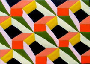 ACEO Original Painting GEOMETRIC PROPORTIONS abstract outsider art JEFF ZENICK