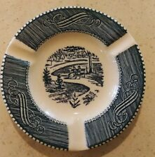 Vintage Currier and Ives Blue Dinnerware Ashtray
