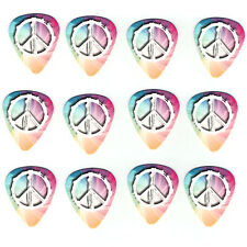 12 Pack PEACE LOVE HIPPIE RAINBOW SWIRL Medium Gauge 351 Guitar Picks Plectrum
