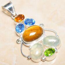 "Handmade Golden Tiger's Eye Gemstone 925 Sterling Silver Pendant 2.5"" #P07552"