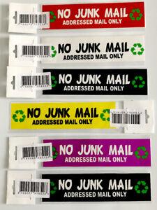 NO JUNK MAIL ADDRESSED MAIL ONLY STICKER 15CMX4CM