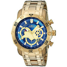 Invicta Men 50mm Pro Diver Scuba 3.0 Chronograph Blue Dial 18k Gold Plated Watch
