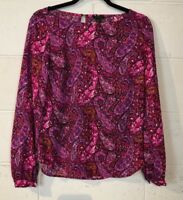 Ann Taylor Women's Pullover Top Blouse Size 2 Pink Paisley Career Wear