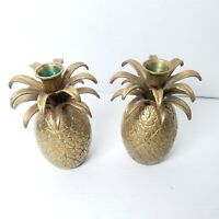 Vintage Brass Pineapple Taper Candle Holders Mid Century Hollywood Regency 5.5""