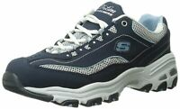 Skechers Womens Sport D'Lites-Life Saver Low Top Lace Up, Navy/White, Size 9.5 D