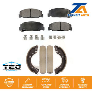 Front Rear Ceramic Brake Pads And Drum Shoes Kit For Honda Civic Accord