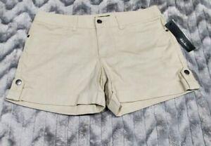 Daisy Fuentes Linen Blend Khaki Walking Comfort Shorts Womens Size 4 NWT