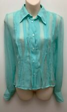 just Cavelli Sheer sea breeze green Silk blouse WearableArt  Size 38 NWT $280
