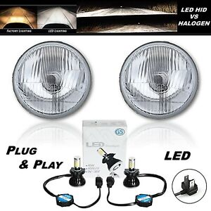 "5-3/4"" Stock Glass Metal High Beam Headlight LED 4000Lm H4 Light Headlamp Pair"