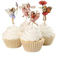 24pcs Flower Fairy Cupcake Toppers Picks for Birthday Decorations Party Q
