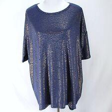 Lularoe Elegant Irma Top Womens L Blue Gold Short Sleeve Hi Low Hem Knit Shirt