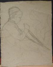 Dessin Ancien Fusain LUCIEN OTT Portrait de Marcel avant Guerre  (1910) LO3