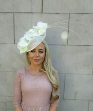 eaf6adb727b4e Large Cream Orchid Feather Flower Saucer Disc Hat Fascinator Races Big Hair  7184