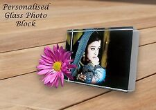 PERSONALISED PHOTO ACRYLIC GLASS BLOCK GIFT MOTHER'S DAY WEDDING CHRISTENING