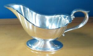 Sauce Boat, Grave Server, Pleated, Attached Oval Base, Silver Plate