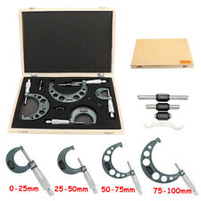 0-4'' Outside Micrometer Machinist Tool Set Of 4 Precision Carbide 0-100mm/0.01m