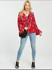 1d200ac1f737 BNWT Waffle Flared Sleeve Top - Pink/Red Print Floral Summer Casual Size 18