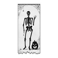 USA MADE Lace Skeleton Pumpkin Hanging Scenic Panel Halloween Door Window Decor