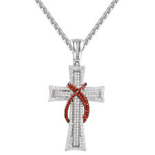Custom Cross Red Stone Sash Pendant 925 Silver Simulated Diamonds Chain Combo