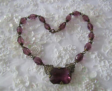 "Vintage 1920s Purple Glass Brass 16.25"" Pendant Necklace Czechoslovakia Czech"