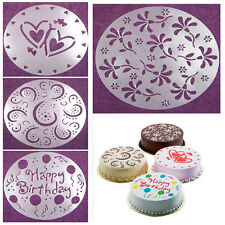 4pc Plastic Flower Heart Cake Stencils Mold Kitchen Bakery Tool Decorating Mould