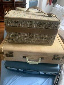 Vtg 50 Tweed Leather Train Case Cosmetics Carry On Luggage Hartmann Paisley Line